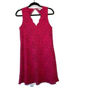 Francesca's Pink Sleeveless Lace Scalloped Dress M